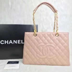 CHANEL Lamb and Caviare Leather Bag Shopping Bag